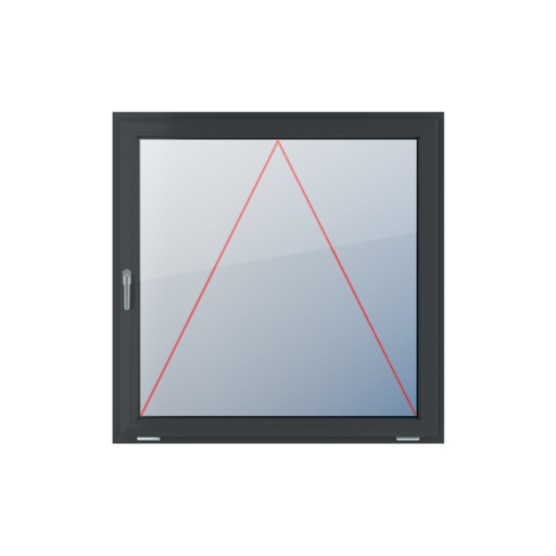 Typy okien 1-skrzydłowe Uchylne z klamką z lewej strony