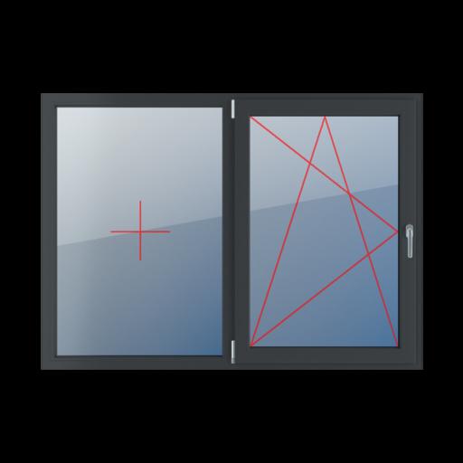 Typy okien 2-skrzydłowe podział symetryczny poziomy 50-50 Stałe szklenie w ramie, rozwierno-uchylne lewe