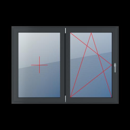 Typy okien 2-skrzydłowe podział symetryczny poziomy 50-50 Stałe szklenie w skrzydle, rozwierno-uchylne lewe