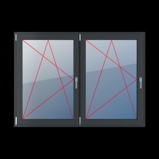 Typy okien 2-skrzydłowe podział symetryczny poziomy 50-50 Rozwierno-uchylne lewe