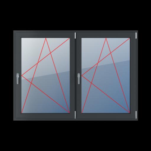 Typy okien 2-skrzydłowe podział symetryczny poziomy 50-50 Rozwierno-uchylne prawe