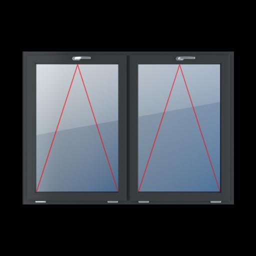 Typy okien 2-skrzydłowe podział symetryczny poziomy 50-50 Uchylne z klamką u góry