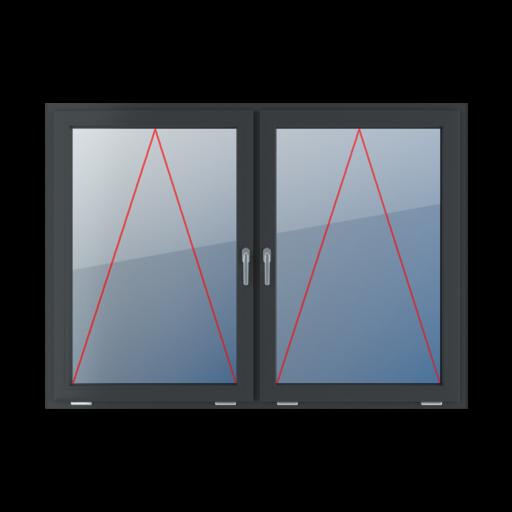 Typy okien 2-skrzydłowe podział symetryczny poziomy 50-50 Uchylne z klamką na środku