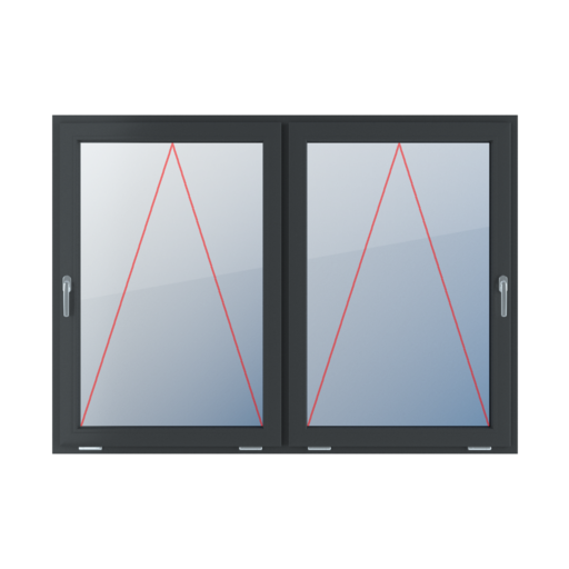 Typy okien 2-skrzydłowe podział symetryczny poziomy 50-50 Uchylne z klamką z lewej strony, uchylne z klamką z prawej strony