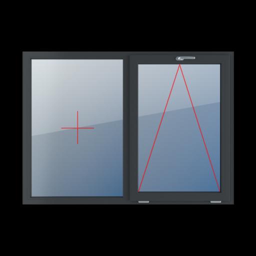 Typy okien 2-skrzydłowe podział symetryczny poziomy 50-50 stałe szklenie w ramie uchylne z klamką u góry