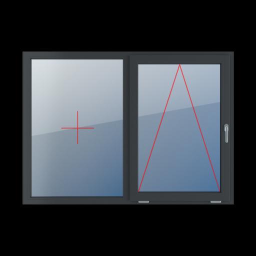 Typy okien 2-skrzydłowe podział symetryczny poziomy 50-50 Stałe szklenie w ramie, uchylne z klamką z prawej strony