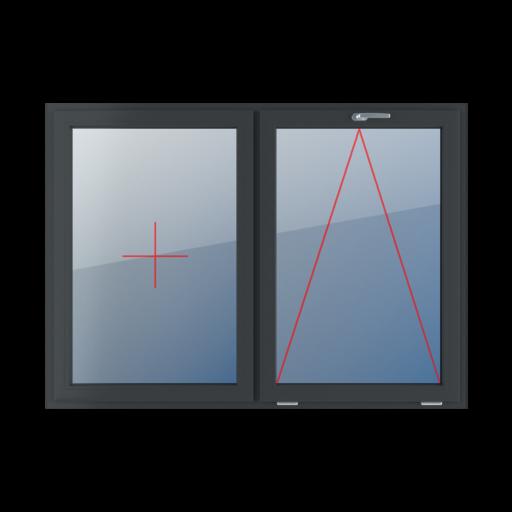 Typy okien 2-skrzydłowe podział symetryczny poziomy 50-50 stałe szklenie w skrzydle uchylne z klamką u góry