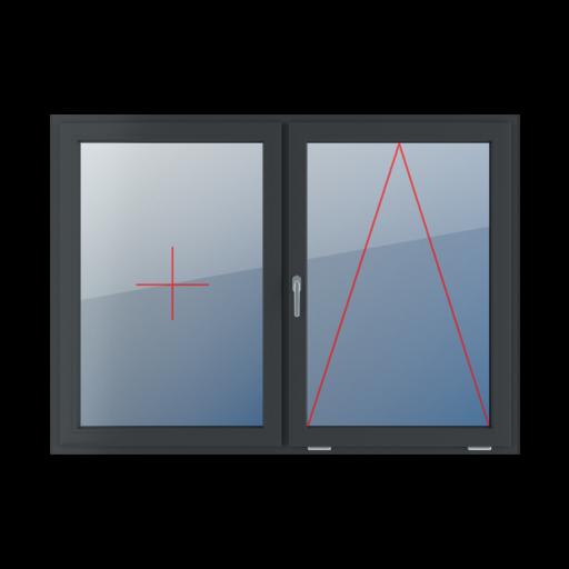 Typy okien 2-skrzydłowe podział symetryczny poziomy 50-50 Stałe szklenie w skrzydle, uchylne z klamką z lewej strony