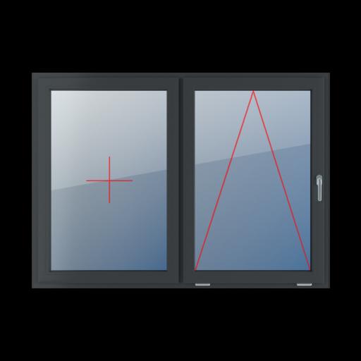 Typy okien 2-skrzydłowe podział symetryczny poziomy 50-50 Stałe szklenie w skrzydle, uchylne z klamką z prawej strony