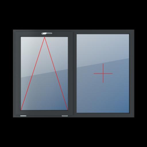Typy okien 2-skrzydłowe podział symetryczny poziomy 50-50 Uchylne z klamką u góry, stałe szklenie w ramie