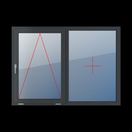 Typy okien 2-skrzydłowe podział symetryczny poziomy 50-50 Uchylne z klamką z lewej strony, stałe szklenie w ramie