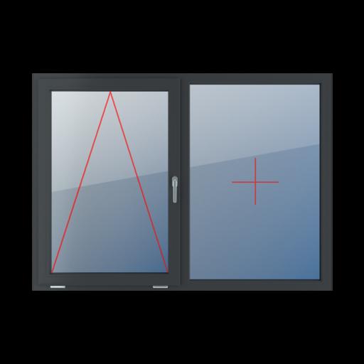 Typy okien 2-skrzydłowe podział symetryczny poziomy 50-50 uchylne z klamką z prawej strony stałe szklenie w ramie