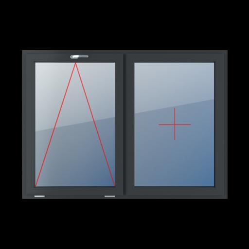 Typy okien 2-skrzydłowe podział symetryczny poziomy 50-50 uchylne z klamką u góry stałe szklenie w skrzydle