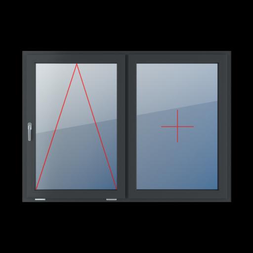 Typy okien 2-skrzydłowe podział symetryczny poziomy 50-50 Uchylne z klamką z lewej strony, stałe szklenie w skrzydle