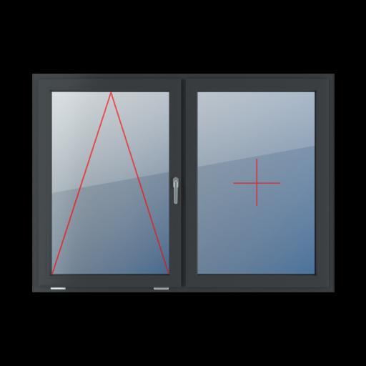 Typy okien 2-skrzydłowe podział symetryczny poziomy 50-50 uchylne z klamką z prawej strony stałe szklenie w skrzydle