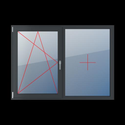 Typy okien 2-skrzydłowe podział symetryczny poziomy 50-50 rozwierno-uchylne lewe, stałe szklenie w ramie