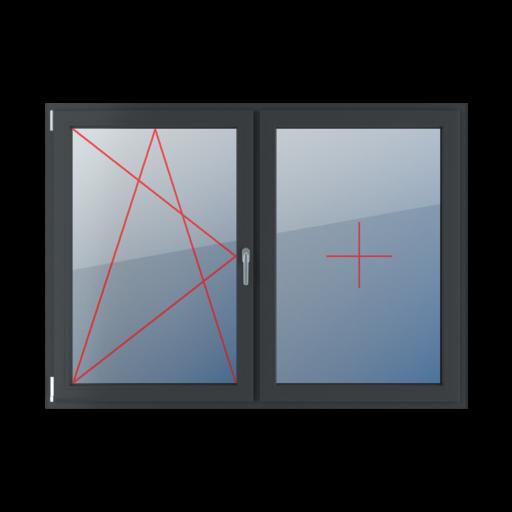 Typy okien 2-skrzydłowe podział symetryczny poziomy 50-50 Rozwierno-uchylne lewe, stałe szklenie w skrzydle
