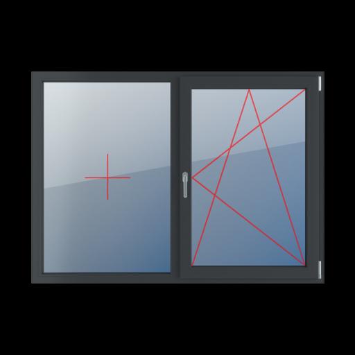 Typy okien 2-skrzydłowe podział symetryczny poziomy 50-50 Stałe szklenie w ramie, rozwierno-uchylne prawe
