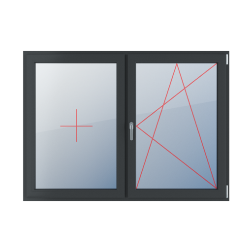 Typy okien 2-skrzydłowe podział symetryczny poziomy 50-50 Stałe szklenie w skrzydle, rozwierno-uchylne prawe