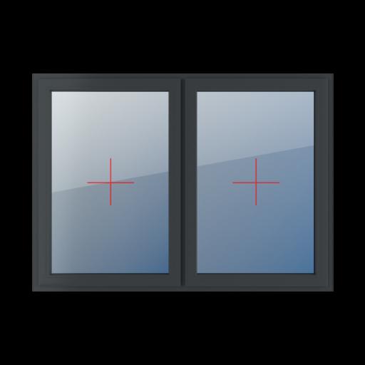 Typy okien 2-skrzydłowe podział symetryczny poziomy 50-50 Szklenie stałe w skrzydle