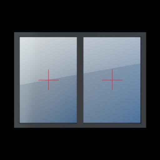 Typy okien 2-skrzydłowe podział symetryczny poziomy 50-50 stałe szklenie w ramie