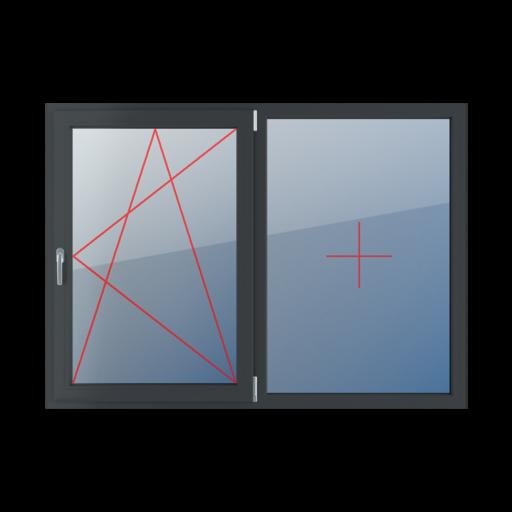 Typy okien 2-skrzydłowe podział symetryczny poziomy 50-50 Rozwierno-uchylne prawe, stałe szklenie w ramie