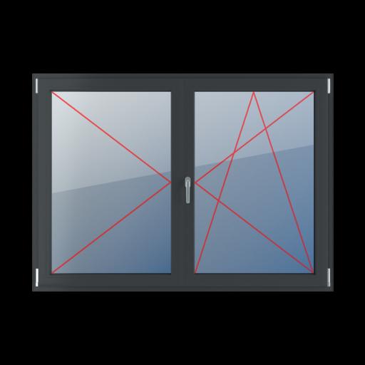 Typy okien 2-skrzydłowe podział symetryczny poziomy 50-50 z ruchomym słupkiem rozwierne lewe, słupek ruchomy, rozwierno-uchylne prawe
