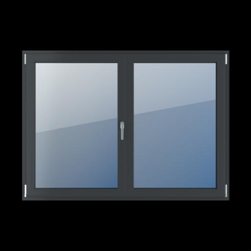 Typy okien 2-skrzydłowe Podział symetryczny poziomy 50-50 z ruchomym słupkiem