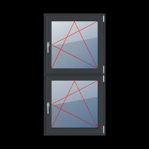 Typy okien 2-skrzydłowe podział symetryczny pionowy 50-50 rozwierno-uchylne prawe