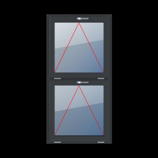Typy okien 2-skrzydłowe podział symetryczny pionowy 50-50 Uchylne z klamką u góry
