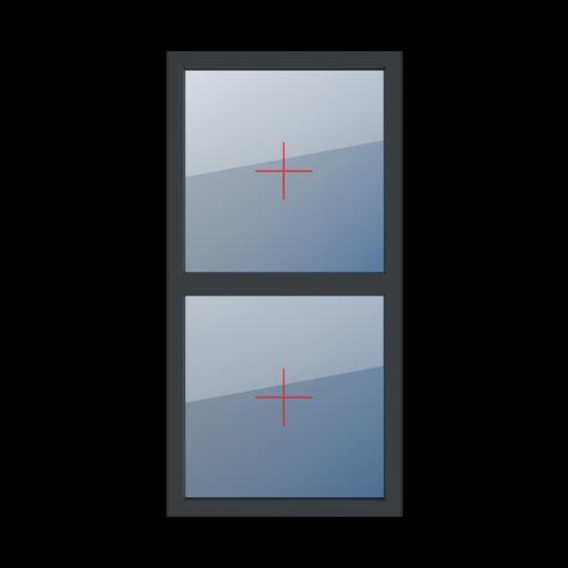 Typy okien 2-skrzydłowe podział symetryczny pionowy 50-50 Szklenie stałe w ramie