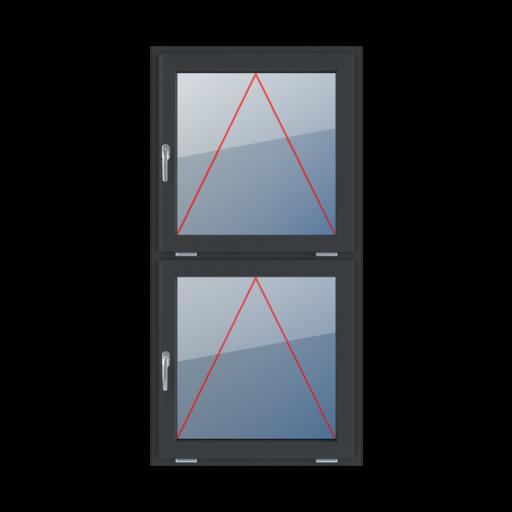 Typy okien 2-skrzydłowe podział symetryczny pionowy 50-50 uchylne z klamką z lewej strony