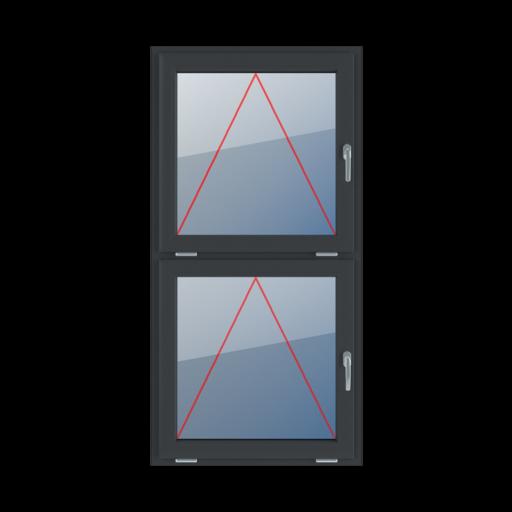 Typy okien 2-skrzydłowe podział symetryczny pionowy 50-50 uchylne z klamką z prawej strony