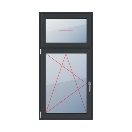 Typy okien 2-skrzydłowe podział niesymetryczny pionowy 30-70 Szklenie stałe w skrzydle, rozwierno-uchylne lewe