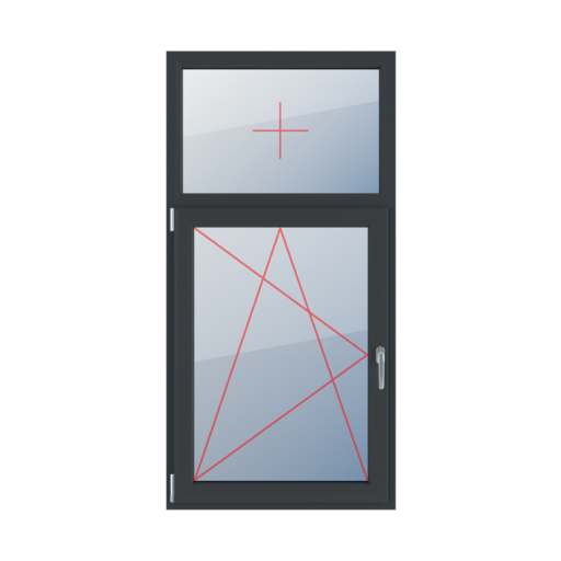 Typy okien 2-skrzydłowe podział niesymetryczny pionowy 30-70 Szklenie stałe w ramie, rozwierno-uchylne lewe