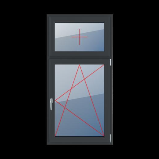 Typy okien 2-skrzydłowe podział niesymetryczny pionowy 30-70 Szklenie stałe w skrzydle, rozwierno-uchylne prawe