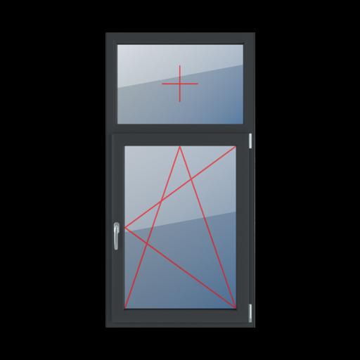Typy okien 2-skrzydłowe podział niesymetryczny pionowy 30-70 Szklenie stałe w ramie, rozwierno-uchylne prawe