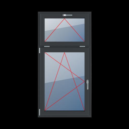 Typy okien 2-skrzydłowe podział niesymetryczny pionowy 30-70 Uchylne z klamką u góry, rozwierno-uchylne lewe