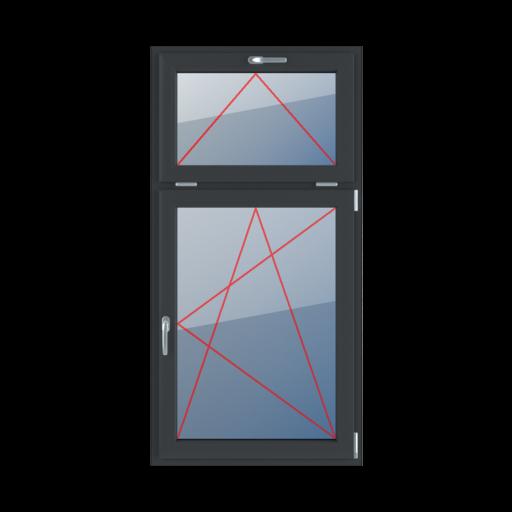 Typy okien 2-skrzydłowe podział niesymetryczny pionowy 30-70 uchylne z klamką u góry rozwierno-uchylne prawe
