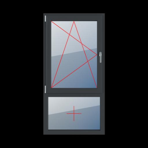 Typy okien 2-skrzydłowe podział niesymetryczny pionowy 70-30 rozwierno-uchylne lewe szklenie stałe w ramie