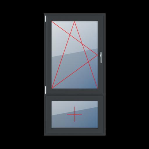 Typy okien 2-skrzydłowe podział niesymetryczny pionowy 70-30 rozwierno-uchylne lewe szklenie stałe w skrzydle