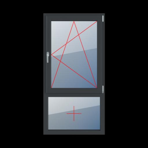 Typy okien 2-skrzydłowe podział niesymetryczny pionowy 30-70 Rozwierno-uchylne prawe, szklenie stałe w ramie