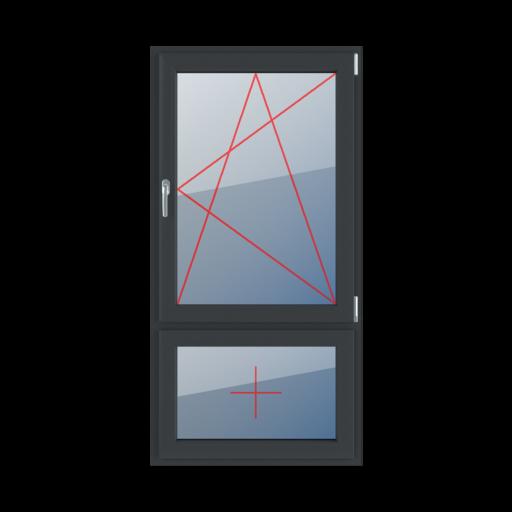 Typy okien 2-skrzydłowe podział niesymetryczny pionowy 30-70 Rozwierno-uchylne prawe, szklenie stałe w skrzydle