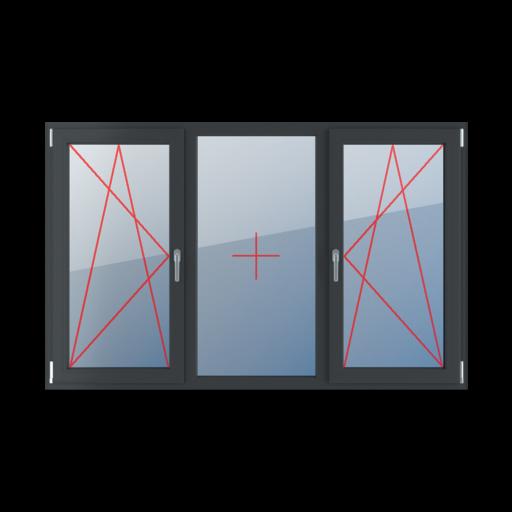 Typy okien 3-skrzydłowe podział symetryczny poziomy 33-33-33 Rozwierno-uchylne lewe, szklenie stałe w ramie, rozwierno-uchylne prawe
