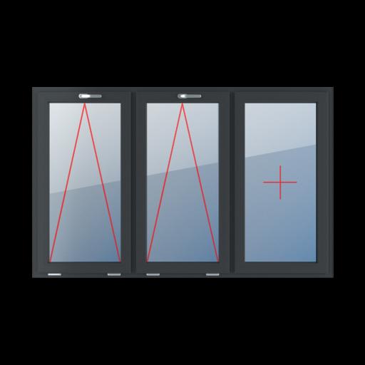 Typy okien 3-skrzydłowe podział symetryczny poziomy 33-33-33 uchylne z klamką u góry szklenie stałe w skrzydle