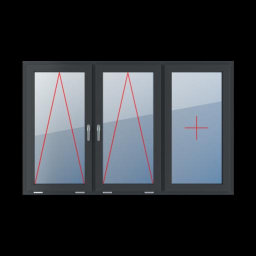 Typy okien 3-skrzydłowe podział symetryczny poziomy 33-33-33 Uchylne z klamką na środku, szklenie stałe w skrzydle