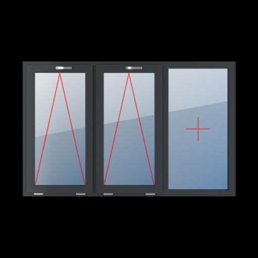 Typy okien 3-skrzydłowe podział symetryczny poziomy 33-33-33 uchylne z klamką u góry szklenie stałe w ramie