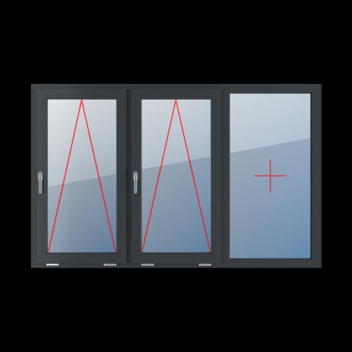 Typy okien 3-skrzydłowe podział symetryczny poziomy 33-33-33 uchylne z klamką z lewej strony szklenie stałe w ramie