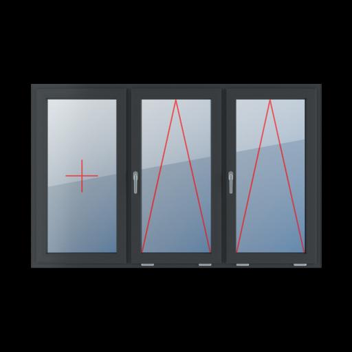 Typy okien 3-skrzydłowe podział symetryczny poziomy 33-33-33 Szklenie stałe w skrzydle, uchylne z klamką z lewej strony, uchylne z klamką z lewej strony