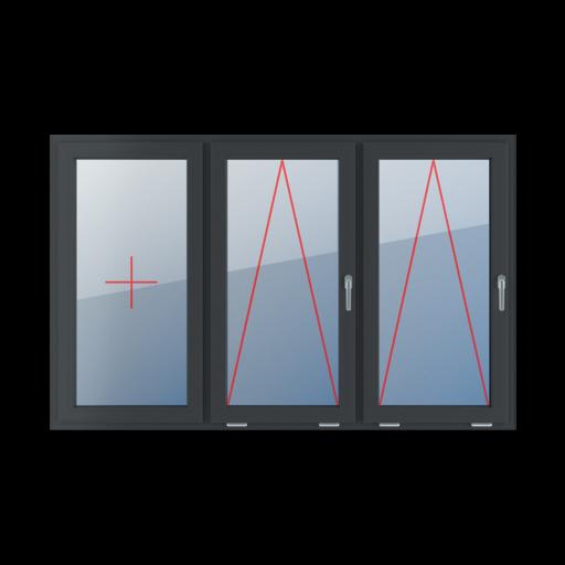 Typy okien 3-skrzydłowe podział symetryczny poziomy 33-33-33 Szklenie stałe w skrzydle, uchylne z klamką z prawej strony, uchylne z klamką z prawej strony
